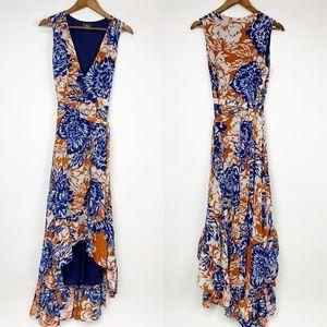 Lulu's Blue Orange Floral High Low Wrap Dress